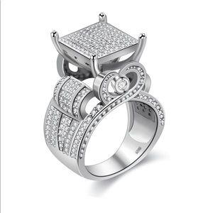 """Uloveido Women's 0.4"""" Wide Square Cluster  Ring,"""